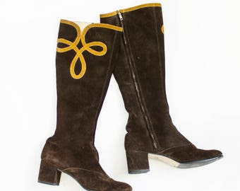 Vintage 1960s Boots - Brown Suede Lace Up Gogo Mod Hippie Boho Shoes - SZ 8.5