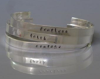 Personalized one word bracelet, Sterling silver inspirational cuff bracelet, Unisex jewelry, Hand stamped bracelet