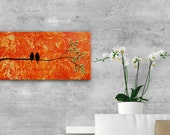 Abstract birds on branch textural Painting, Textured Modern Contemporary love birds family painting orange tree painting original gift
