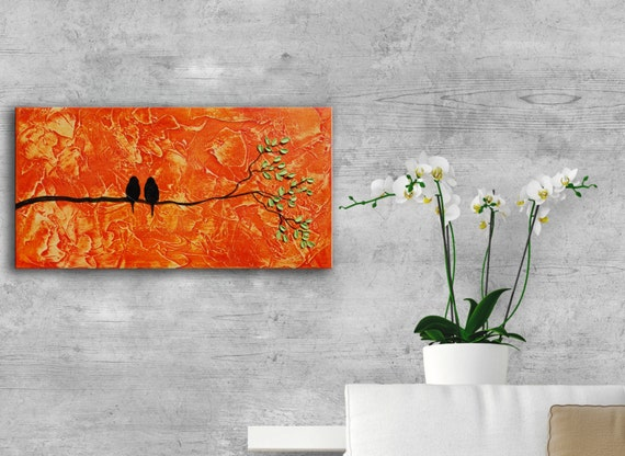 Abstract birds on branch textural Painting, Textured Modern Contemporary love birds family painting orange tree painting christmas gift