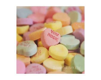 """Candy Hearts. Valentine's Day Decor. """"You Rock"""". Pastel Photography. Conversation Hearts. Cute. Nursery Decor. Love. Pink. Yellow. Blue"""