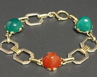 Art Deco Carnelian & Chrysoprase Bracelet 14K Sugarloaf Cabochons