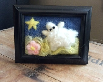 Needle Felted Sheep in Pasture Framed Art