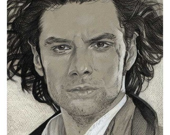 A6 postcard featuring drawing of Aidan Turner as Poldark