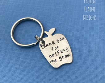 Teacher's Gift- Thank You For Helping Me Grow- Hand Stamped Apple Keychain