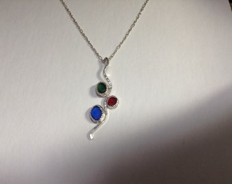 Red Blue Yellow Sea glass necklace. Dainty necklace. Sterling Silver. Christmas necklace