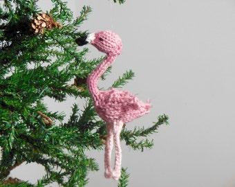 Alice in Wonderland Ornament, Flamingo Christmas Ornament, Alice in Wonderland Holiday Ornament, Knit Flamingo, Holiday Decor, Knit Bird