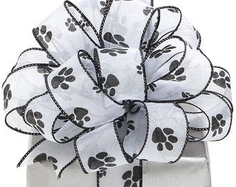 "Ribbon by the yard~1.5"" Shimmering Wired Sheer Fabric Paw Prints . ~Use for Wreath~Wedding~Arrangement-Scrap-booking"