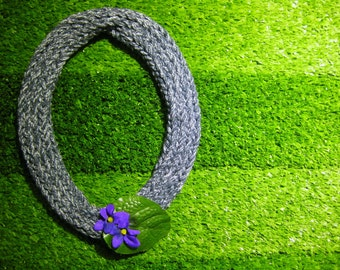African violets knitted necklace