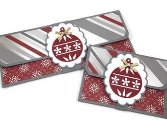 Christmas money card, money holder, cash envelope, gift card holder, gift card envelope, red and silver, stocking stuffer, christmas gift