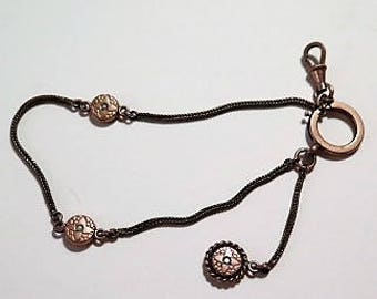 French Pocket Watch Chain Seed Pearl Gold Fill Hallmark G.F. A 1860s