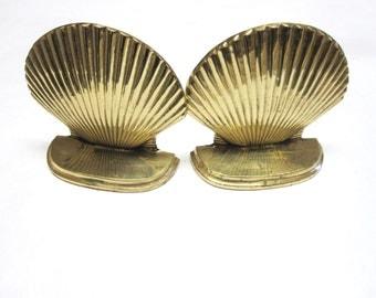 Brass Seashell Bookends Nautical Shell Book Ends