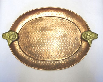 Hammered Copper Oval Tray With Brass Rams Head Handles
