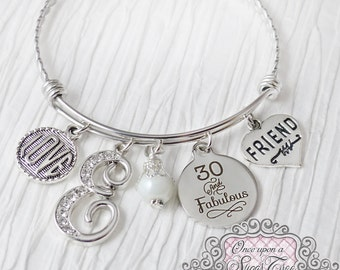30th Birthday Gift for Her, Birthday Jewelry, 30 and Fabulous, Friendship Bracelet, Friend, Love, Personalized Bangle- Best Friend Jewelry