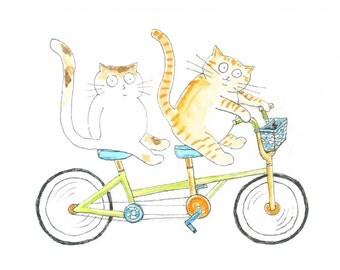 Cats on a Tandem Bike Greeting Card