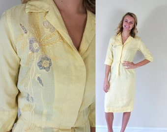 Sale vtg 50s YELLOW sheer cut out WIGGLE DRESS xs linen embroidered madmen pinup day dress retro pencil skinny fitted pockets