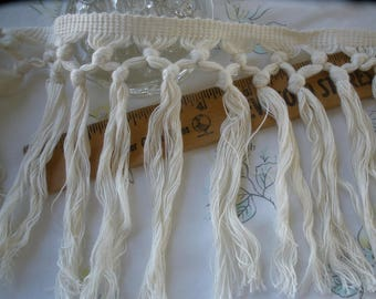 "Boho Macrame Fringe 6"" cotton blend off white knotted trim retro BTY yards crafts costume soft thread antique white trim home decor"