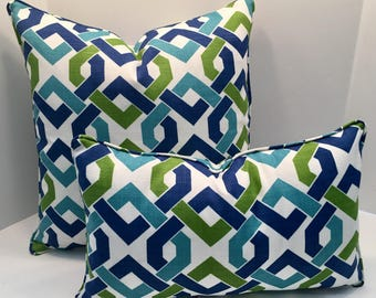 Geometric Outdoor Pillow Cover in Geo Lagoon includes piping