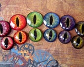 Dragon Eyes (DE700) Hand Painted Glass Eyes, 30mm, 24mm, Sparkle and Holographic Colors, Craft and Jewelry Making