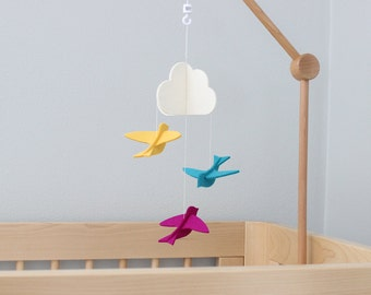 Crib Arm Mobile >> Birds Crib Mobile · 100% Merino Wool · White Cloud and Colorful Birds · 22 Vibrant Colors · Perfect for a Mobile Arm