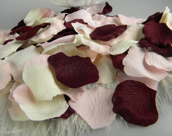Bulk Rose Petals / Maroon, Pink Blush, Cream pink tips /Wine Burgundy Wedding / 500 / Artificial / Wedding Flower Girl Petals / Aisle Decor