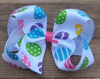 Easter Egg Boutique Bow~White Hair Bow~Bright Egg Hair Bow~Easter Hair Bow~Basic Hair Bow~Simple Hair Bow~Boutique Hair Bow~Spring Hair Bow