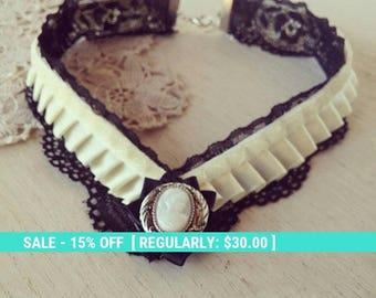 SALE! Black lace choker, victorian collar, steampunk choker