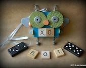 50% OFF - Robot Ornament - Big Eyed Bug XO Bot - Upcycled Ornament - Hanging Decor by Jen Hardwick