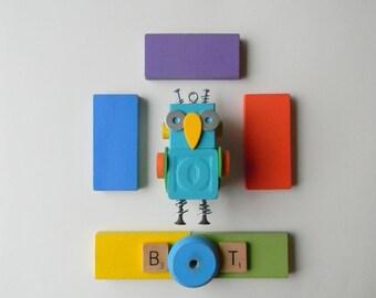 Robot Ornament - Owl Bot - O Bot - Upcycled Ornament - Hanging Decor by Jen Hardwick
