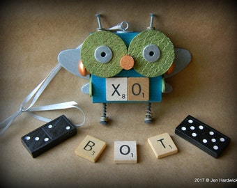 Robot Ornament - Big Eyed Bug XO Bot - Upcycled Ornament - Hanging Decor by Jen Hardwick