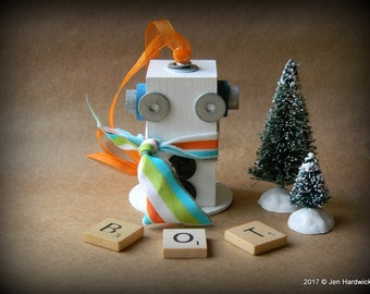 50% OFF - Robot Ornament - Snowman Ornament - Upcycled Ornament - Hanging Decor by Jen Hardwick