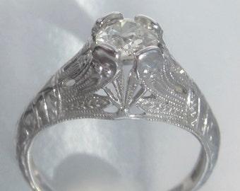 Antique Art Deco Half Carat Old Mine Diamond Engagement Ring 18K. Belais Brothers.