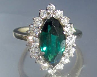 Antique Art Deco Blue/Green Tourmaline Old Mine Diamond Halo Platinum Ring