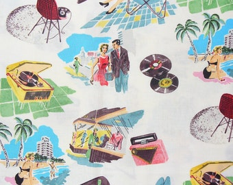 Vinyl Vacation, Alexander Henry, 1950s Retro Fabric,  Mod Fabric, 1950s Scenes, By the Yard, Cotton Fabric