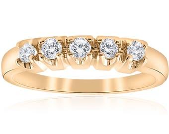 Yellow Gold Diamond Wedding Ring 1/2 Carat Womens 14K Gold 5 Stone Diamond Anniversary Ring Round Brilliant Cut
