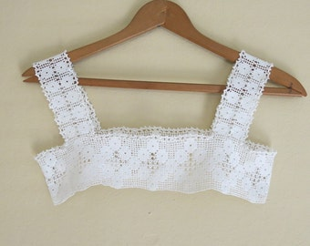 Vintage Girl's Lace Bodice Yolk Dress Nighty White Crochet Lace 575b