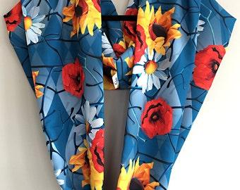 Flower Power - Faille Infinity Scarf / Shawl / Hijab / Handmade Fashion Accessory / Flowers