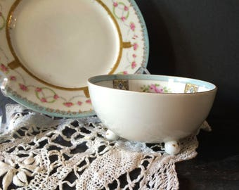 Nortyake Footed Dish and Prussia B Royal Rudolstadt Bread Butter Plate. Miss Matched Pair. Romantic French Shabby Chic
