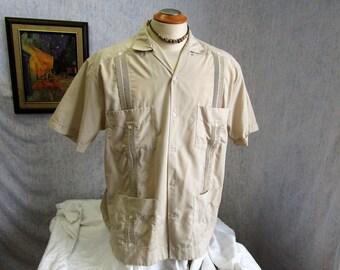 80s XXL 44 Yucateca Guayabera Men's S/S Shirt Beige