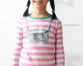 Girls tshirts, girls striped tshirts, girls clothing, toddler tshirts, camera tshirt, instamatic tshirt. Sustainable clothing, made in Italy