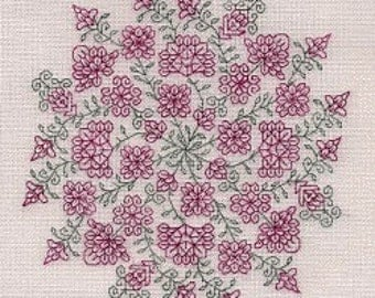Bindalli cross stitch pattern by SEBA Designs OPTIONAL silk threads Dinky Dyes at thecottageneedle.com hand embroidery Spring garden