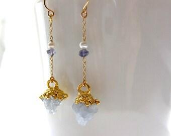 celestite cluster earring//