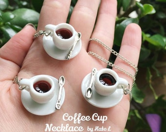 Handmade Twin Peaks ceramic coffee cup tea cup necklace pendant on stainless steel chain 18inch length made in USA cup and saucer