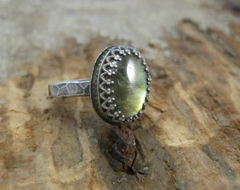 Blue Flash Labradorite Crystal Ring // Sterling Silver // Hand Crafted // Artisan // Eco Friendly // Size 7 // Ready to Ship