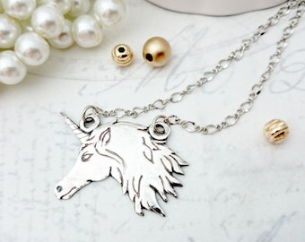 Unicorn Silver Necklace- PMC Necklace, Silver Jewelry, PMC Jewelry, Unicorn Charm Necklace, Unicorn Pendant, Unicorn Gift