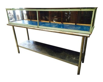 Artisanal Original 1930s Long Wood Frame Horizontal Glass Display Case with Fine Patina
