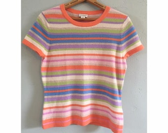 90s Pastel Striped Cashmere Shirt
