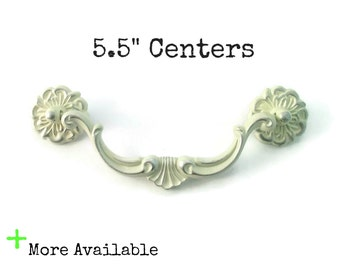 """1 Vintage Drawer Pull 5.5"""" centers RARE SIZE 5 1/2"""" on center hole spacing - More Available - bail handles"""