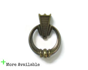 Vintage Brass Art Deco Ring Pulls - Vintage Single Screw Furniture Hardware - MCM atomic handles - More Available