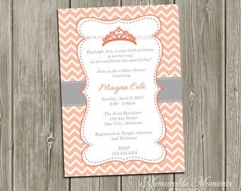 PRINTABLE INVITATIONS Chevron Princess Baby Shower or Birthday Invitation - Coral and Grey - Memorable Moments Studio